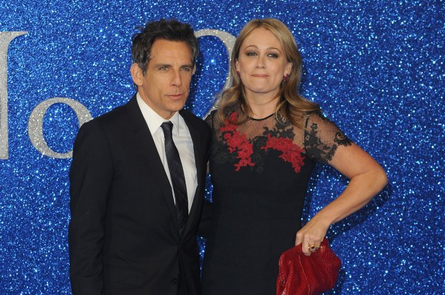 """Ben Stiller and wife Christine Taylor attend the U.K. premiere of """"Zoolander 2"""" at Empire Leicester Square in London on February 4, 2016. Stiller discussed his battle with prostate cancer, saying early detection with the PSA test saved his life. File Photo by Paul Treadway/ UPI"""
