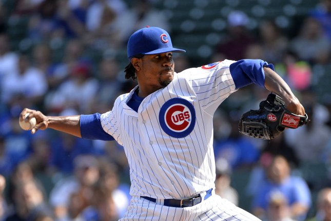Former Chicago Cubs starting pitcher Edwin Jackson signed a minor league deal Friday with the Washington Nationals. File photo by Brian Kersey/UPI