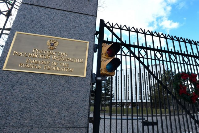 The front gate of the Russian Embassy is shown in northwest Washington, D.C. File Photo by Pat Benic/UPI