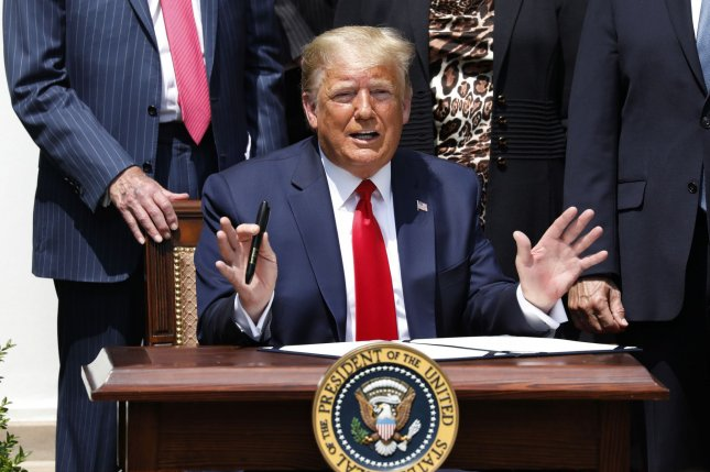 President Donald Trump signed legislation Saturday extending the deadline for businesses to apply for Paycheck Protection Program loans to August 8. File Photo by Yuri Gripas/UPI