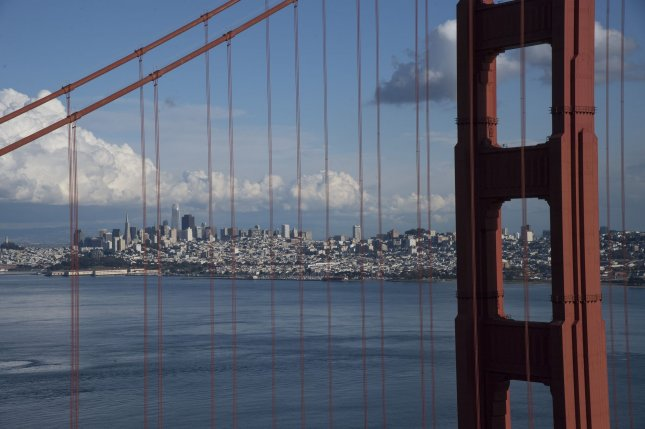 The Golden Gate Bridge and downtown San Francisco, Calif., are seen on March 16. Prosecutors said in a complaint this week that China's San Francisco consulate has been used to shield Chinese nationals from U.S. prosecution. File Photo by Terry Schmitt/UPI
