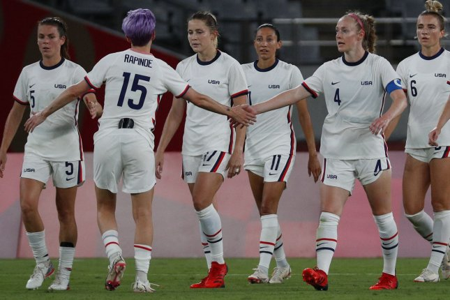 The United States Women's National Team finished with four points in Group G to advance to the knockout stages of the 2020 Summer Games soccer tournament. File Photo by Bob Strong/UPI