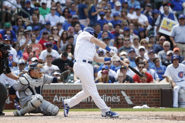 Chicago Cubs Ian Happ hits a single off Tampa Bay Rays Erasmo Ramirez in the sixth inning at Wrigley Field on July 5, 2017 in Chicago. Photo by Kamil Krzaczynski/UPI