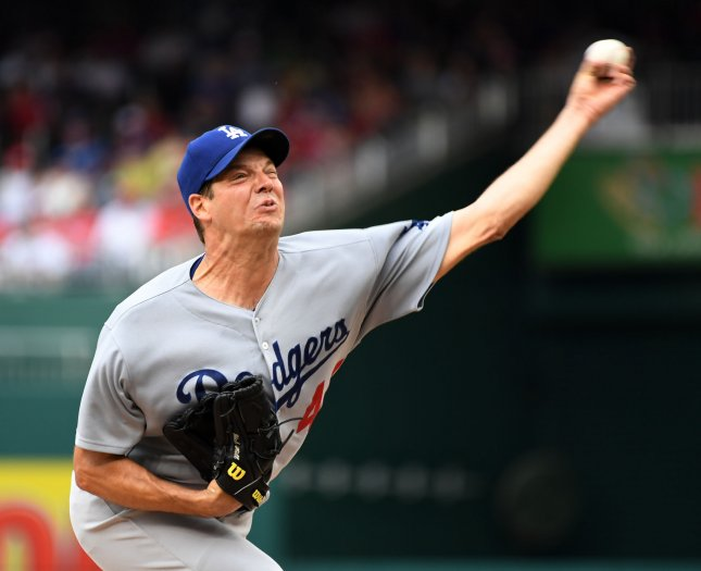 Los Angeles Dodgers starter Rich Hill delivers a pitch during the fourth inning against the Washington Nationals at Nationals Park on Saturday. Photo by Pat Benic/UPI