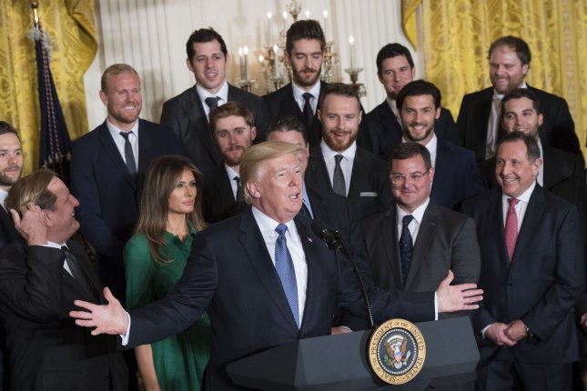 President Donald Trump delivers remarks as he welcomes the 2017 Stanley Cup Champion Pittsburgh Penguins to the White House, on October 10, 2017 in Washington, D.C. Photo by Kevin Dietsch/UPI