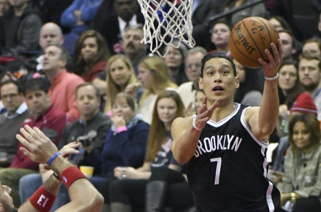 Brooklyn Nets guard Jeremy Lin (7) goes to the basket and scores against the Washington Wizards in the first half at the Verizon Center in Washington, D.C. on March 24, 2017. File photo by Mark Goldman/UPI