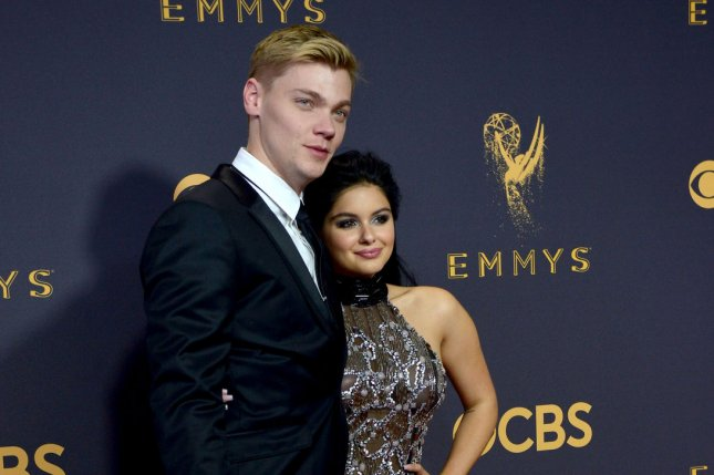 Ariel Winter (R), pictured with Levi Meaden, dedicated a sweet post to the actor Saturday on their first anniversary as a couple. File Photo by Christine Chew/UPI