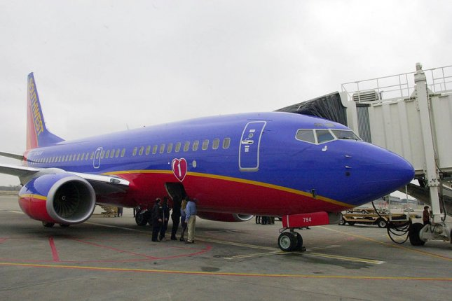 Southwest Airlines canceled 40 flights Sunday to conduct engine fan blade inspections, following the accident last week that killed 43-year-old Jennifer Riordan. File photo by Bill Greenblatt/UPI