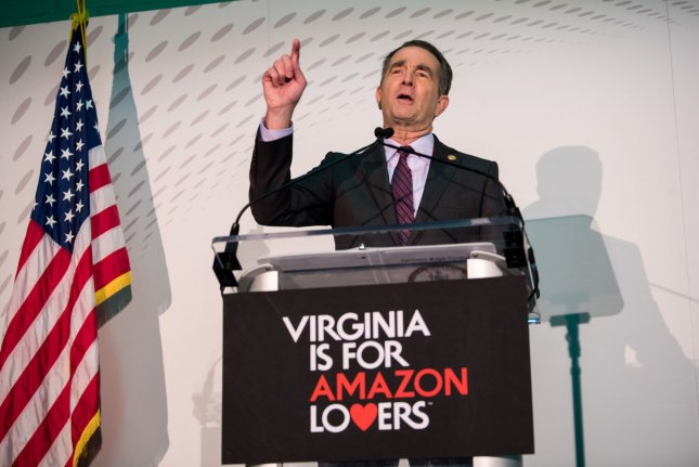 Virginia Gov. Ralph Northam speaks to reporters in Arlington, Va., on November 13, 2018, to celebrate Amazon's decision to open a headquarters campus in Crystal City. File Photo by Kevin Dietsch/UPI