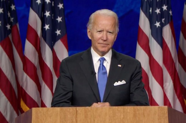 Democratic presidential nominee Joe Biden speaks from Wilmington, Del., on the final night of the Democratic National Convention on August 20. UPI Photo