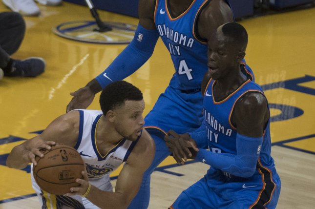 Oklahoma City Thunder guard Dennis Schroder (17) was the runner-up for the NBA's Sixth Man of the Year Award this past season. File Photo by Terry Schmitt/UPI
