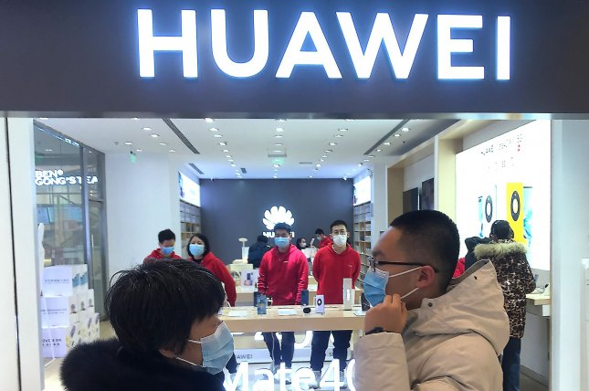 A Huawei smartphone showroom is shown in Beijing on Saturday. Photo by Stephen Shaver/UPI
