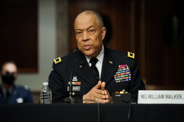 Army Maj. Gen. William Walker, commanding general of the District of Columbia National Guard, answers questions Wednesday during a Senate homeland security and rules joint hearing to discuss the January 6 attack on the U.S. Capitol in Washington, D.C. Pool Photo by Greg Nash