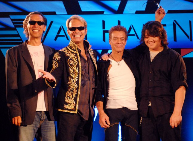 Members of the rock group Van Halen, left to right, Alex Van Halen, David Lee Roth, Eddie Van Halen and Eddie's son Wolfgang Van Halen attend a news conference to officially announce their 25-city North American tour in Los Angeles on August 13, 2007. Roth reunited with the band after a 22-year absence. Wolfgang Van Halen replaces bassist Michael Anthony, who was fired earlier this year. (UPI Photo/Jim Ruymen)