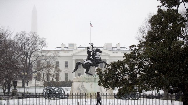 Layfayette Park, in front of the White House, is seen covered in snow after an overnight storm hit the Washington, D.C. metro area, on March 25, 2013. UPI/Kevin Dietsch