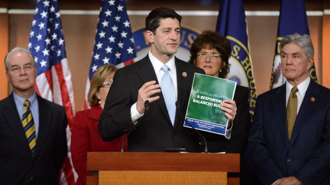 Chairman of the House Budget Committee Paul Ryan, R-Wis., released the House Budget Committee's Fiscal Year 2014 Budget Resolution during a press conference Tuesday in Washington. UPI/Kevin Dietsch