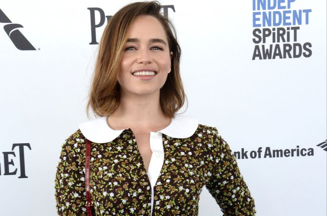 Emilia Clarke attends the 31st annual Film Independent Spirit Awards on February 27, 2016. Clarke finds love alongside co-star Sam Claflin in the latest trailer for their upcoming film, Me Before You. File Photo by Jim Ruymen/UPI