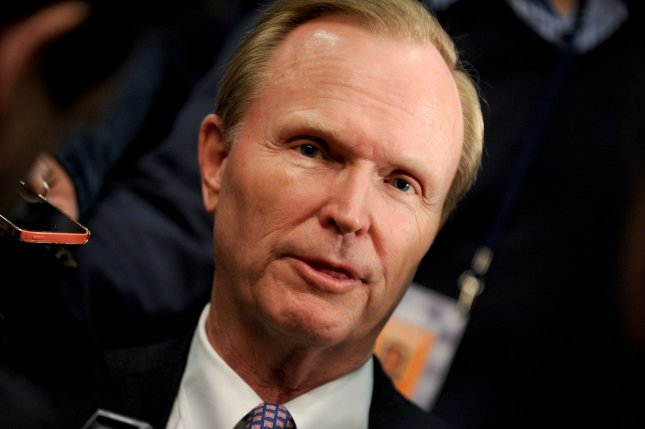 Giants president and CEO John Mara speaks at New York Giants new head coach Ben McAdoo introduction press conference at MetLife Stadium in East Rutherford, New Jersey on January 15, 2016. McAdoo replaces 2-time Super Bowl winning coach Tom Coughlin after 12 years as Giants head coach. Photo by Dennis Van Tine/UPI