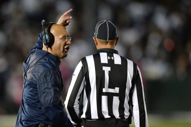 Penn State head coach James Franklin yells at line judge in the fourth quarter against the USCTrojans during the 2017 Rose Bowl in Pasadena, California on January 2, 2017. The Trojans defeated the Nittany Lions 52-49. Photo by Jon SooHoo/UPI