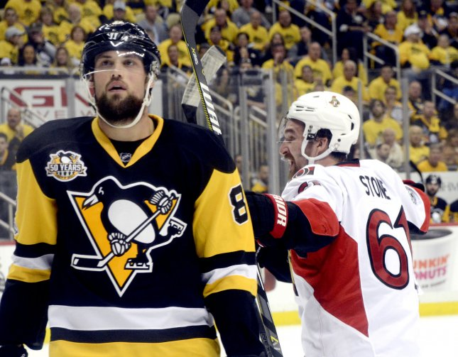 Phil Kessel and the Pittsburgh Penguins take on the Ottawa Senators on Friday. Photo by Archie Carpenter/UPI