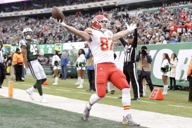 Kansas City Chiefs tight end Travis Kelce (87) celebrates after scoring on a 36-yard touchdown reception in the first quarter against the New York Jets in Week 13 of the NFL season on December 3, 2017 at MetLife Stadium in East Rutherford, New Jersey. Photo by John Angelillo/UPI