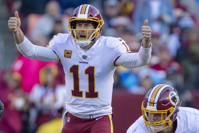 Washington Redskins quarterback Alex Smith changes a call during a game against the Dallas Cowboys at FedEx Field in Landover, Maryland on October 21 2018. Photo by Tasos Katopodis/UPI
