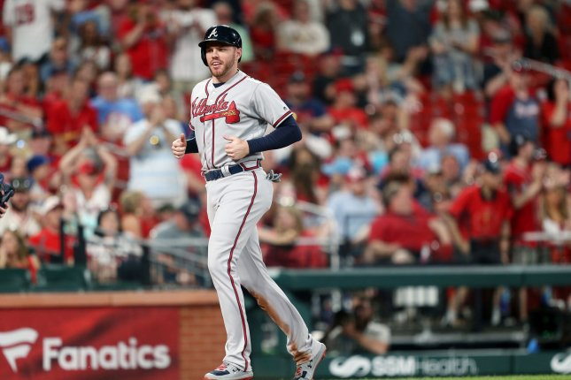 Atlanta Braves first baseman Freddie Freeman underwent arthroscopic surgery on his right elbow in mid-October. File Photo by Bill Greenblatt/UPI