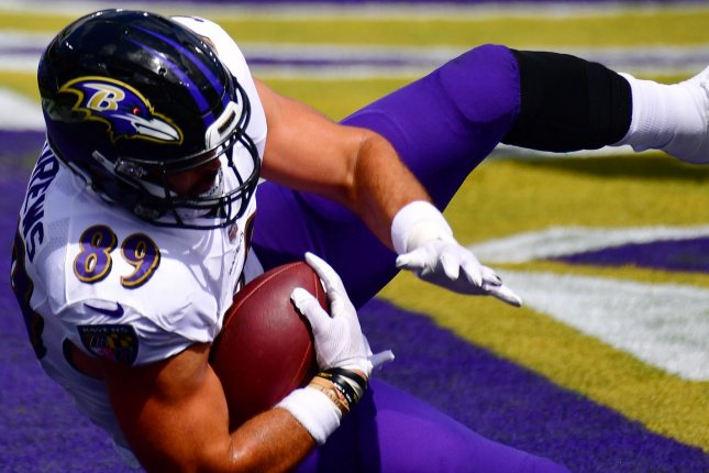 Baltimore Ravens tight end Mark Andrews is my top player at the position this week as he heads into a game against the Houston Texans. Photo by David Tulis/UPI