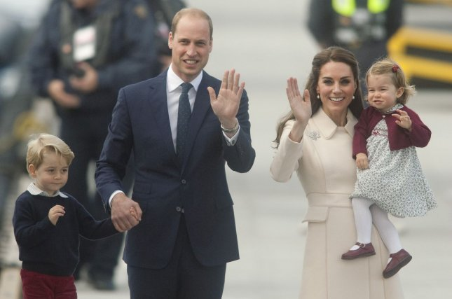 Prince William, Kate Middleton, Prince George and Princess Charlotte depart Victoria Harbour in Victoria, B.C., during a royal tour of British Columbia and the Yukon on October 1, 2016. The royal family kicked off a five-day tour of Poland and Germany on Monday. File Photo by Heinz Ruckemann/UPI