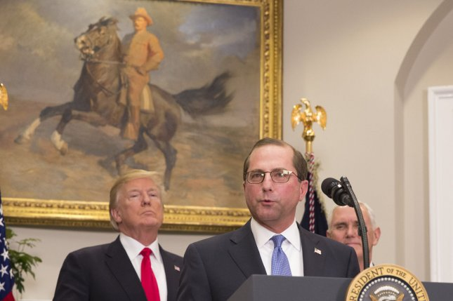 Alex Azar, Health and Human Services Secretary, delivers remarks alongside President Donald Trump after being sworn-in during a ceremony in the Roosevelt Room at The White House in Washington, DC, January 29, 2018. Photo by Chris Kleponis/UPI