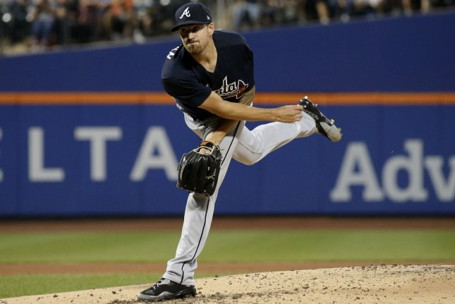 Atlanta Braves starting pitcher Kevin Gausman throws a pitch in the fourth inning against the New York Mets on August 4 at Citi Field in New York City. Photo by John Angelillo/UPI