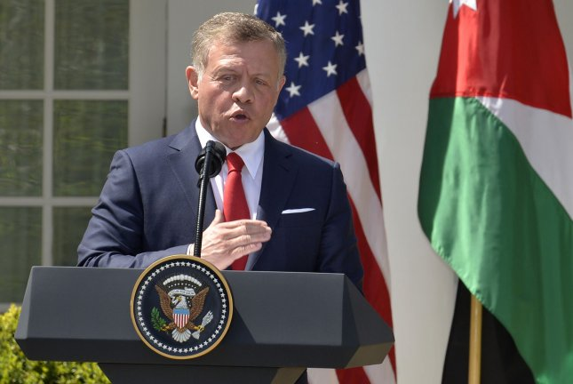 Jordan's King Abdullah II, seen here at the White House in 2017, announced plans Sunday to revoke parts of a peace treaty with Israel. File Photo by Mike Theiler/UPI