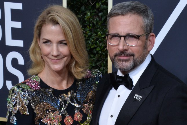 Steve Carell (R) with his wife Nancy Carell. The actor has joined Apple's morning show drama. File Photo by Jim Ruymen/UPI