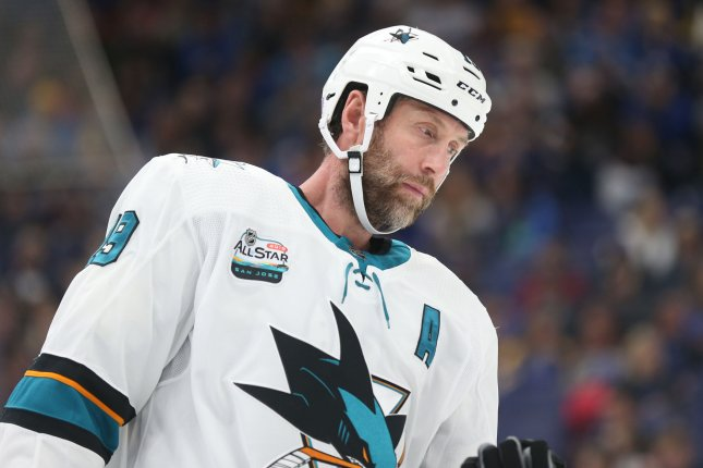 San Jose forward Joe Thornton picked up his 1,000th NHL point with the Sharks against the Calgary Flames on Thursday. File Photo by Bill Greenblatt/UPI