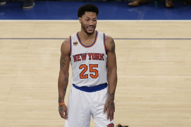 New York Knicks guard Derrick Rose was the youngest MVP in league history under head coach Tom Thibodeau with the Chicago Bulls in 2011. File Photo by John Angelillo/UPI