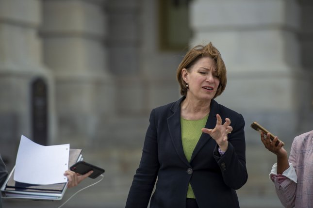 Sen. Amy Klobuchar, D-Minn., and a group of Democrats on Tuesday unveiled new legislation to protect access to the polls. File Photo by Bonnie Cash/UPI