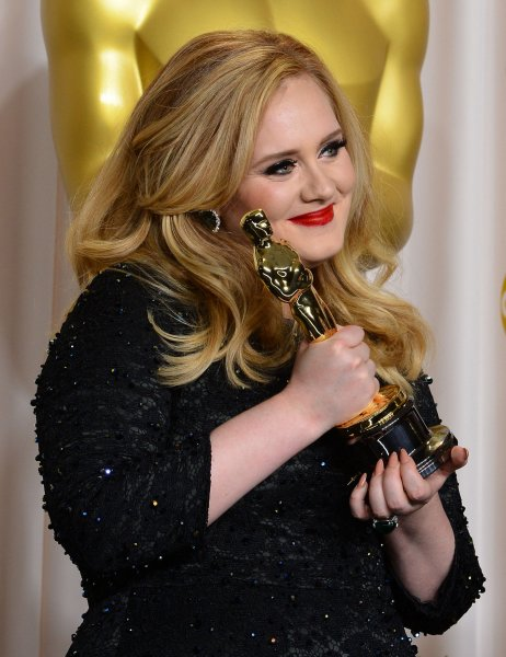Singer Adele Adkins hold her Oscar for best Achievement in Music Written for Motion Pictures (Original Song) - Skyfall backstage at the 85th Academy Awards at the Hollywood and Highland Center in the Hollywood section of Los Angeles on February 24, 2013. UPI/Jim Ruymen