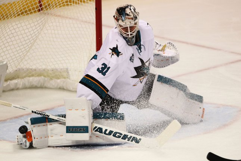 San Jose Sharks goaltender Martin Jones. File photo by Bill Greenblatt/UPI