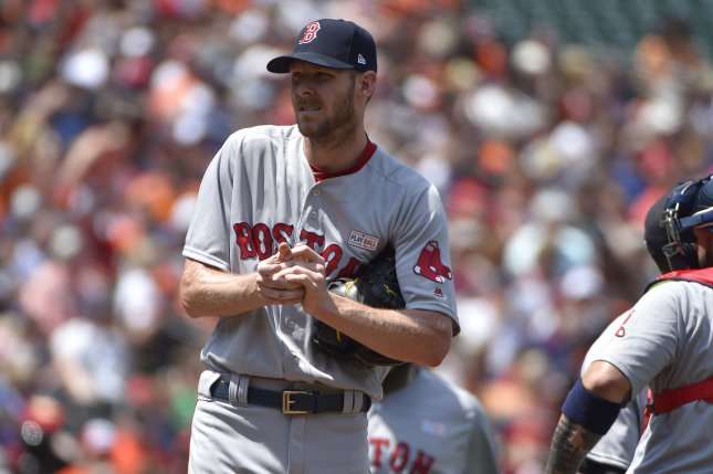 Boston Red Sox starting pitcher Chris Sale reacts after giving up a run. File photo by David Tulis/UPI