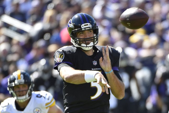 Baltimore Ravens quarterback Joe Flacco (5) throws against the Pittsburgh Steelers during an NFL game on October 1, 2017 at M&T Bank Stadium in Baltimore. Photo by David Tulis/UPI
