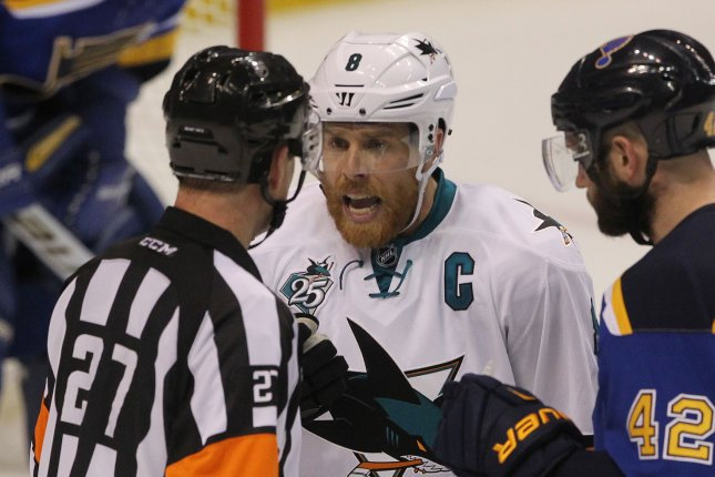 San Jose Sharks captain Joe Pavelski (C) will not play in the Sharks' series opener against the Colorado Avalanche on Friday night. File Photo by Bill Greenblatt/UPI