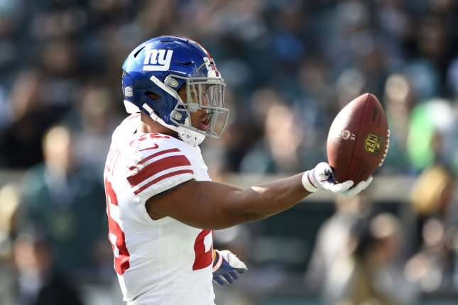 New York Giants running back Saquon Barkley sustained his injury in the second quarter Sunday against the Tampa Bay Buccaneers. File Photo by Derik Hamilton/UPI