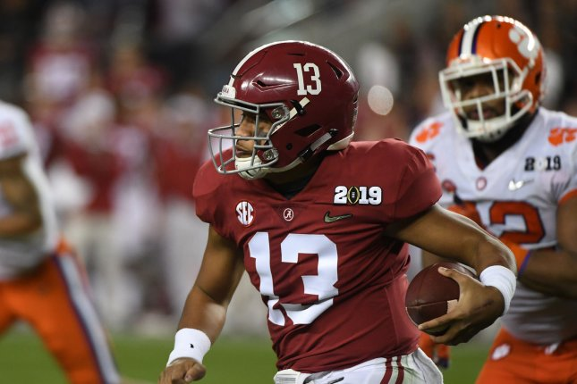 Alabama Crimson Tide quarterback Tua Tagovailoa runs for a short gain against the Clemson Tigers in the NCAA College Football Playoff National Championship at Levi's Stadium on January 7, 2019, in Santa Clara, Calif. He suffered a season-ending injury Saturday against Mississippi State. File Photo by Terry Schmitt/UPI