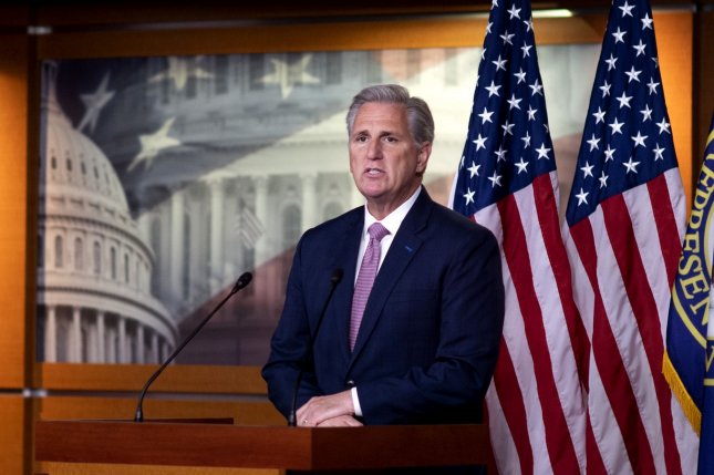 House Republican leader Kevin McCarthy said Thursday that GOP members of the chamber agree with concepts in the police reform bill unveiled by House Democrats on Monday. Photo by Kevin Dietsch/UPI