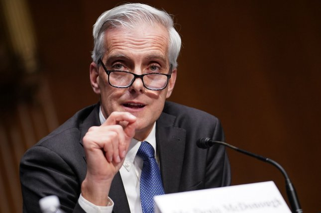 Denis McDonough, President Joe Biden's nominee to head the Department of Veterans Affairs, said if confirmed he will make getting our veterans through this pandemic a top priority.Photo by Sarah Silbiger/UPI