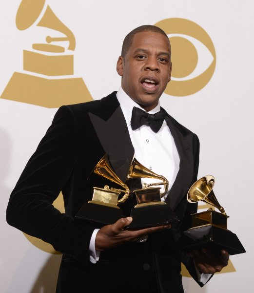 Jay-Z appears backstage with the Grammys he won at the 55th Grammy Awards at the Staples Center in Los Angeles on February 10, 2013. UPI/Phil McCarten