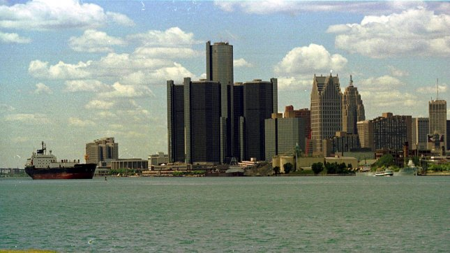 The Detroit skyline rises from the bank of the Detroit River. (File/UPI/Bill Pugliano)