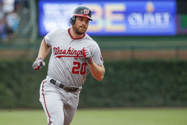Daniel Murphy and the Washington Nationals stunned the New York Mets on Saturday. Photo by Kamil Krzaczynski/UPI