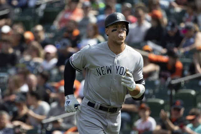 New York Yankees right fielder Aaron Judge is the latest Yankee on the injured list with an oblique injury. This season Judge is hitting .288 with five homers, 11 runs batted in and a pair of steals. File Photo by Alex Edelman/UPI