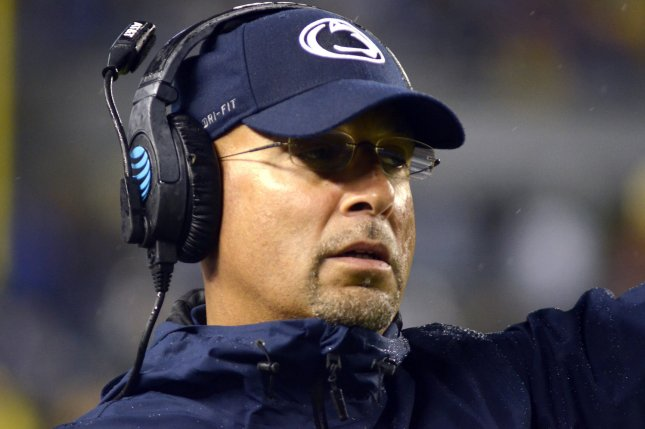 Penn State Nittany Lions head football coach James Franklin denounced a racially insensitive letter that targeted defensive back Jonathan Sutherland and his appearance. File Photo by Archie Carpenter/UPI